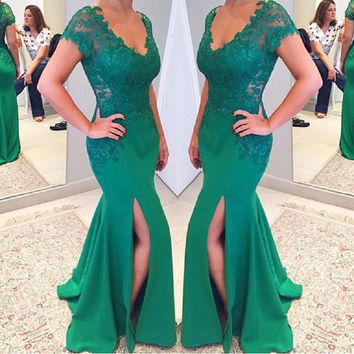 Vestidos De Festa Green Mermaid Prom Dresses 2017 Modest Side Split Formal Women Evening Gowns Long Graduation Dresses
