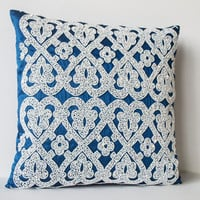 Decorative Throw Pillow -Blue Silk White Sequin Throw Pillows -White Embroidery Accent Pillow -Blue Couch Pillows -Gift -20x20 -Christmas