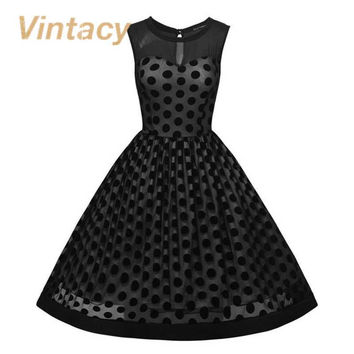 Vintacy vintage style summer dress ball gown black slim women dress polka dots 1950s vintage fashion retro women party dresses