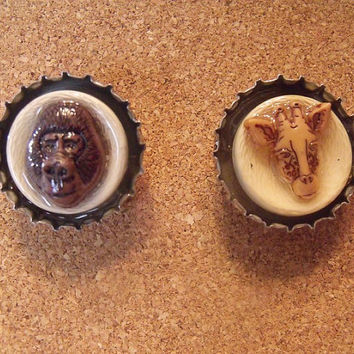 Animal Beer Cap Push Pins Set of 2 by KraftyGrannysHome on Etsy