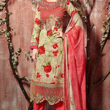 Beige and Red Floral Zari Embroidered Straight Cut Suit