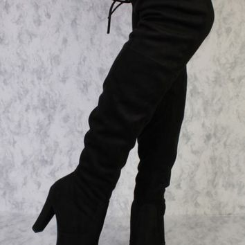Black Round Pointy Toe Single Sole High Heel Thigh High Boots Faux Suede