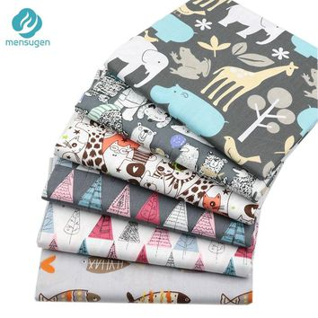 Mensugen 50cm*160cm Animal Cartoon Cotton Fabric for Patchwork Quilting Sewing Pillows Baby Bedding Decoration Material