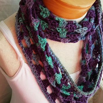 crochet spring cowl scarf multi crochet linen cotton blend loop wrap shrug purple green teal aqua turquose