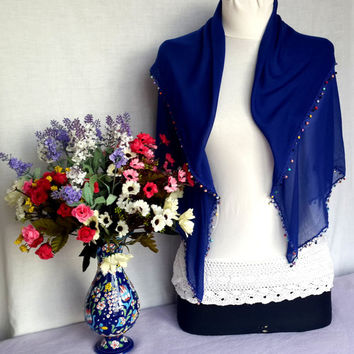 Royal Blue Soft Turkish Scarf Elegant Cotton Shawl Christmas Gift For Holiday Winter Fashion Xmas Gift Idea Europeanstreetteam Craftoriteam