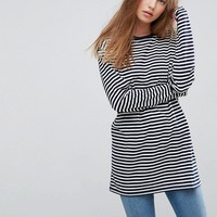 ASOS Stripe T-Shirt with Long Sleeve in Oversize Fit at asos.com