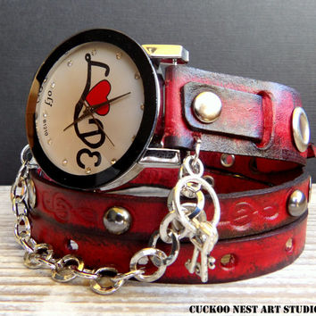 Women's Leather Watch, Wrap around Watch, Ladies watch, Bracelet Watch, Red and Black Love Watch