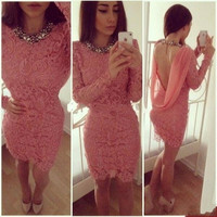 Sexy Above Knee Lace Cocktail Dress Charming Long Sleeves Short Dresses For Teens Party Gowns robe cocktail 2016