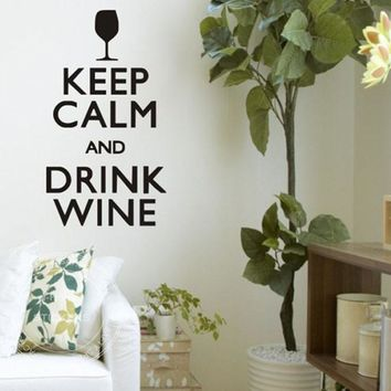 Keep Calm And Drink Wine Wall Stickers Quotes And Saying Home Decor Wall Decals Vinyl Art Sticker