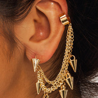 Spiked-Chain-Cuff-Earrings GOLD - GoJane.com