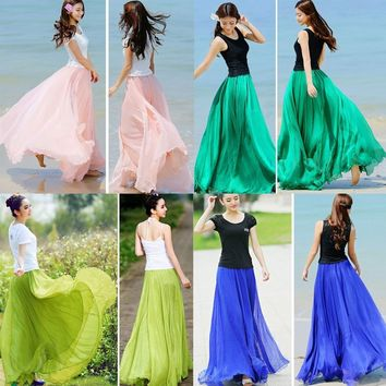 Women Skirt Summer Double Layer Chiffon Pleated Long Maxi Elastic Waist Skirt Draped New Hot Skirt