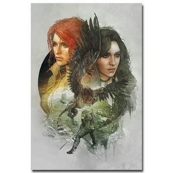 NICOLESHENTING Geralt - The Witcher 3 Wild Hunt Hot Game Art Silk Poster 12x18 24x36inch Wall Picture For Room Decor TW008