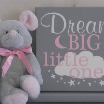 Dream Big Little Ones, Gifts for Twins, Gray and Light Pink Twin Baby Girl Nursery Decor, Twins Gift