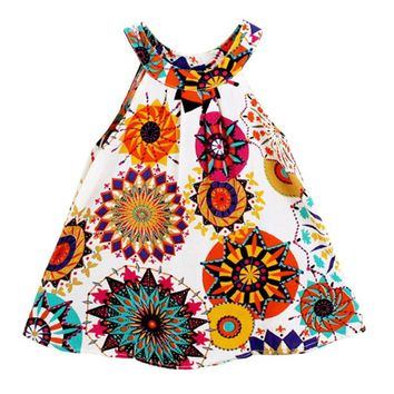 Toddler and Little Girl Multicolored Summer Sundress.    Available with White or Magenta Background Color.    In Sizes 2T, 3T, 4T, 5 and 6.    ***FREE SHIPPING***