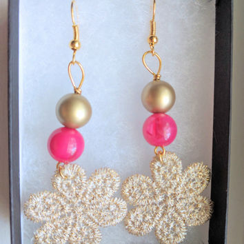 Gold Lace Earrings, Lace Earrings with Gold Pearl and Pink Crystals, Gold Lace, Statement Earrings,  Gifts for her
