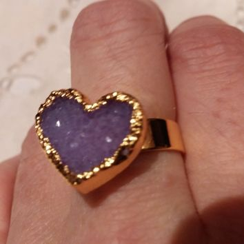 Nemesis heart shaped stone druzy Amethyst adjustable ring