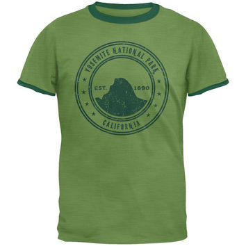 Yosemite National Park Vintage Heather Green Men's Ringer T-Shirt