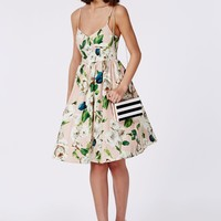 Missguided - Floral Bust Cup Midi Skater Dress Nude