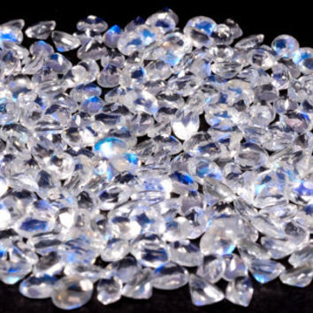 3mm Rainbow Moonstone Faceted Round - Natural Loose Gemstone - Top AAA Quality Blue Color - Calibrated Gemstone