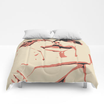 Girls love to play naughty, dirty, kinky - sexy conte abstract, nude erotic, hot naked lesbians Comforters by Casemiro Arts - Peter Reiss