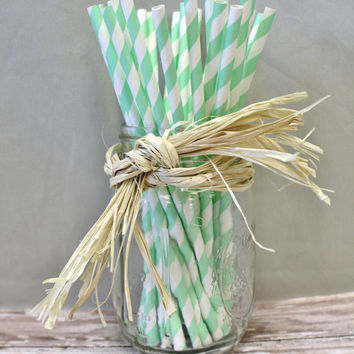 25 mint green and white striped chevron paper straws for parties weddings Decorations Drinking Straws zig zag cake pop sticks party straws