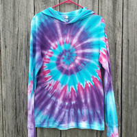 Womens Small Hoodie Tie Dye,  Pink Blue and Purple,  Long Sleeve Tshirt With Hood, Hippie, Festival,  Ready to Ship