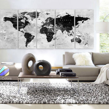 "XLARGE 30""x 70"" 5 Panels 30""x14"" Ea Art Canvas Print Watercolor Map World Countries Cities Push Pin Travel Wall color Black White Gray decor Home interior (framed 1.5"" depth)"