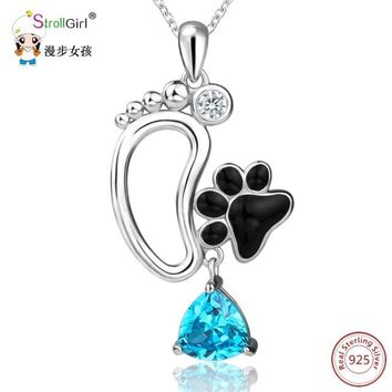 For The Dog Lover in You! Strollgirl 925 Sterling Silver Dog Paw Pendants & Necklaces For Women Footprint with Blue Cubic Zirconia Chain Jewelry Necklace