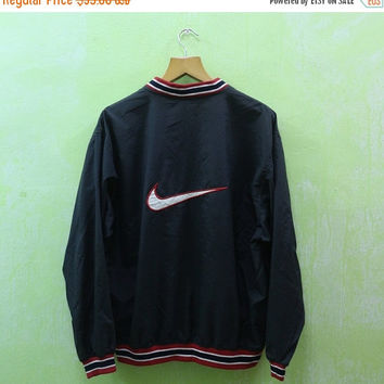 15% SALES Vintage 90s Nike Sport Big Logo Trainer Zipper Black Jacket Sweater