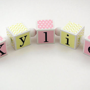 Baby Girl Nursery Decor - Personalized Name Blocks - Baby Shower Gift - Yellow Chevron and Pink Dots