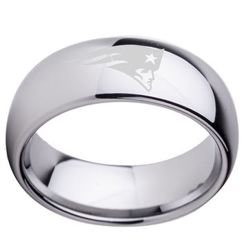 New England Patriots Tungsten Carbide Wedding Ring