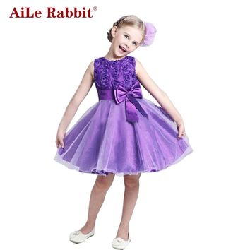 AiLe Rabbit Princess Flower Girl Dress Summer 2017 Tutu Wedding Birthday Party Dresses For Girls Children's Costume Teenager