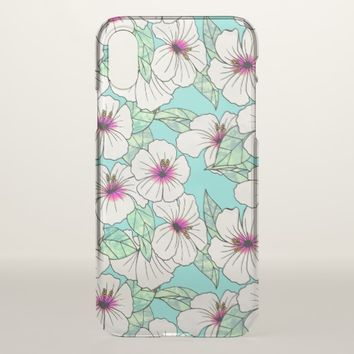 Pink & White Tropical Hibiscus Floral Pattern iPhone X Case