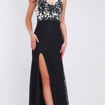 Elegant Black and White Prom Dresses Sexy Side Split Chic Design New Appliques Lace Long Dresses for Women