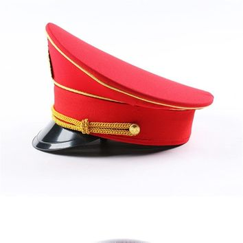 leather captain hat naval caps military hats wide brim army Visor cap cospaly Halloween Christmas gift festival New year