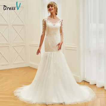 Dressv Long Wedding Dress Floor Length Bateau Neck Long Sleeves Court Train Mermaid Tulle Appliques Princess Wedding Dresses