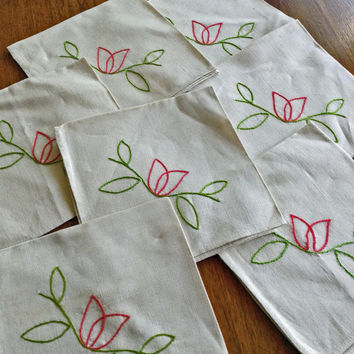 7 Hand Embroidered Linen Napkins