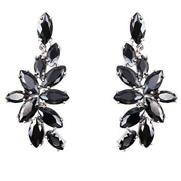FC Chandelier Dangle Drop CZ Bridal Black Flower Swarovski Elements Crystal Earrings