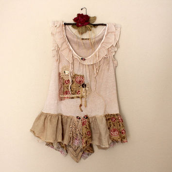Women's Romantic Tattered Top | Altered Couture | Ladies Artsy Shabby Clothing | Urban Chic Clothes