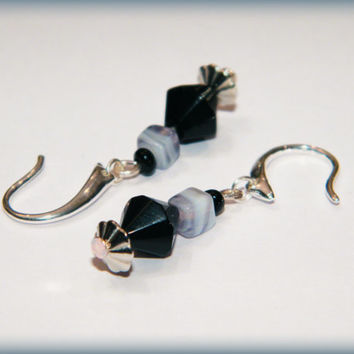 Bohemian drop earrings - black, grey, white and silver - nickel-free ear wires