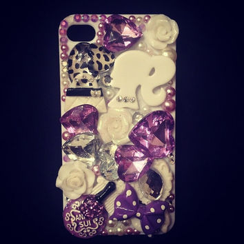 Purple Bling iPhone 4/4s Phone Case by littledevildecoxo on Etsy