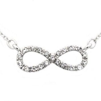 Silver Fashion Infinity Pendant Necklace with Clear CZ - 16in Adjustable Chain