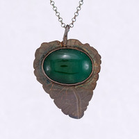 Fall leaf - etched patinaed sterling silver and aventurine pendant, gemstone and silver pendant