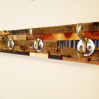 Rustic/Modern Coat Rack: Beautiful Artistic Hanger created from the scraps of the shop floor. Great Conversation Piece.