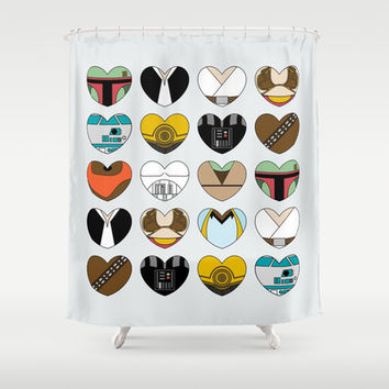 Character Hearts Shower Curtain by August Decorous