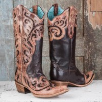 Corral Ladies' Brown Sequin Inlay Boots - Boots
