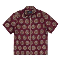 Proper Gang Brocade Zip Shirt (Burgundy)