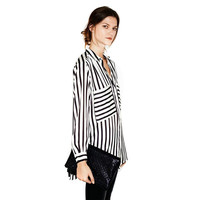 New Summer Formal blouses Long Sleeve Button Down Women's Shirt Vertical Striped Chiffon Pocket Career Tops