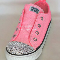 Converse All Star Chuck Taylors in Vintage Neon Pink with Swarovski crystal detail