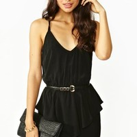 Twisted Peplum Dress - Black